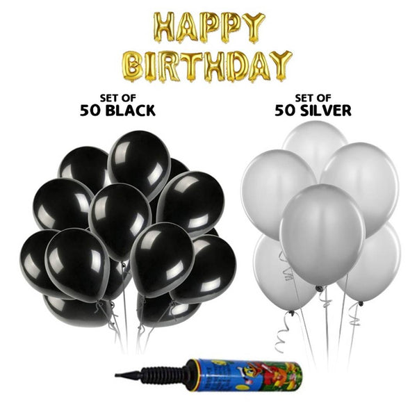Happy Birthday Golden Letters Foil+ Pack of 50 Black & 50 Silver HD Metallic Balloons with Pump