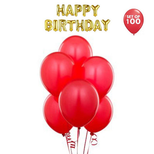 NHR Solid Happy Birthday Golden Letters Foil Balloon Set + Pack of 100 Red Balloon