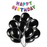 NHR Solid Happy Birthday Multicolor Letters Foil Balloon Set + Pack of 100 Black HD Metallic Balloons