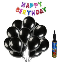 NHR Solid Happy Birthday Multicolor Letters Foil Balloon Set + Pack of 100 Black HD Metallic Balloons with Pump