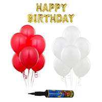 NHR Solid Happy Birthday Golden Letters Foil Balloon Set + Pack of 50 Red & 50 White Balloons with Pump