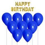 NHR Solid Happy Birthday Golden Letters Foil Balloon Set + Pack of 100 Blue Balloons