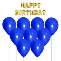 NHR Solid Happy Birthday Golden Letters Foil Balloon Set + Pack of 100 Blue Balloons with Pump