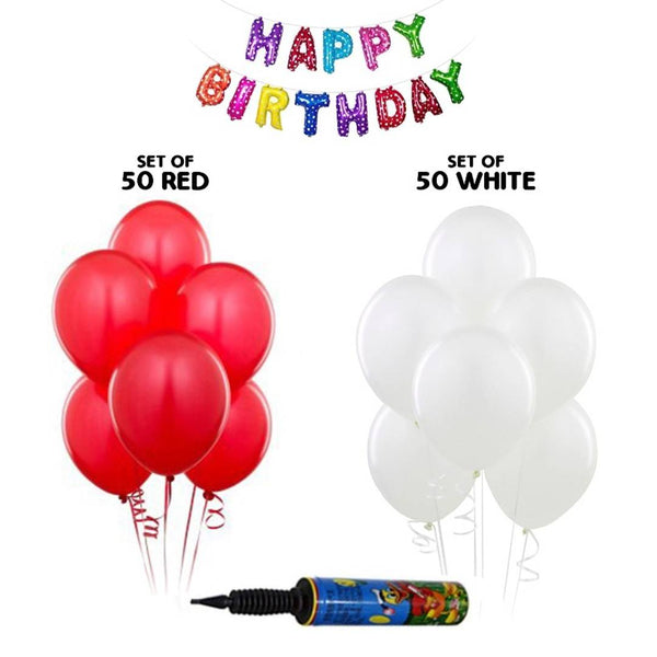 NHR Solid Happy Birthday Multicolor Letters Foil Balloon Set + Pack of 50 Red & 50 White Balloons with Pump