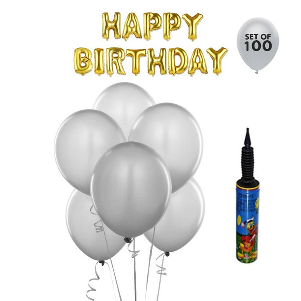 NHR Solid Happy Birthday Golden Letters Foil Balloon Set + Pack of 100 Silver HD Metallic Balloons with Pump - Abelestore