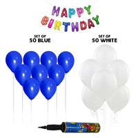 NHR Solid Happy Birthday Multicolor Letters Foil Balloon Set + Pack of 50 Blue & 50 White Balloons with Pump