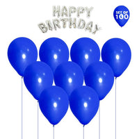 NHR Solid Happy Birthday Silver Letters Foil Balloon Set + Pack of 100 Blue Balloons