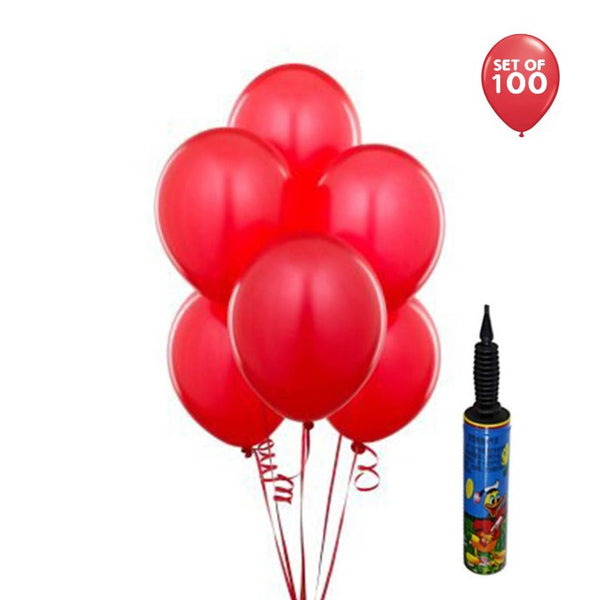Red 100Pcs + Pump Abel Happy Birthday Decoration 100 Red Metallic Balloons with Pump