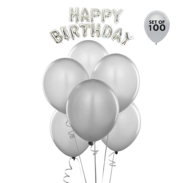 NHR Solid Happy Birthday Silver Letters Foil Balloon Set + Pack of 100 Silver HD Metallic Balloons