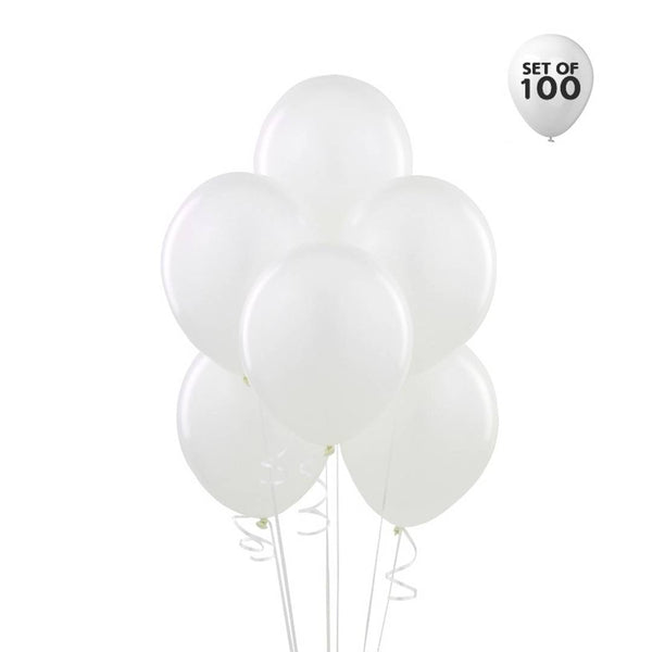 NHR Solid Happy Birthday Decoration 100 White Balloons Pack - Abelestore