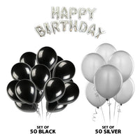 NHR Solid Happy Birthday Silver Letters Foil Balloon Set + Pack of 50 Silver & 50 Black HD Metallic Balloons(100 Balloons)