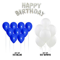 NHR Solid Happy Birthday Silver Letters Foil Balloon Set + Pack of 50 Blue & 50 White Balloons (100 Balloons)