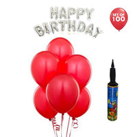 NHR Solid Happy Birthday Silver Letters Foil Balloon Set + Pack of 100 Red Balloons with Pump - Abelestore