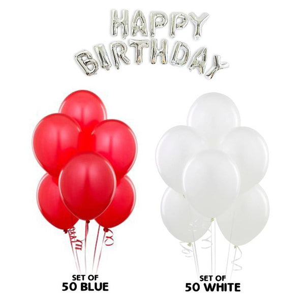 NHR Solid Happy Birthday Silver Letters Foil Balloon Set + Pack of 50 Red & 50 White Balloons (100 Balloons)