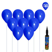NHR Set of 100 Blue Color Happy Birthday Decoration Balloons with Pump