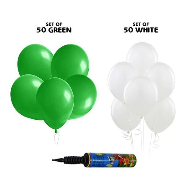 NHR Happy Birthday 50 Green + 50 White Color Decoration Balloons with Pump (100 Balloons)