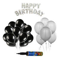 NHR Happy Birthday Silver Letters Foil Balloon Set + Pack of 50 Silver & 50 Black HD Metallic Balloons with Pump (100 Balloons)