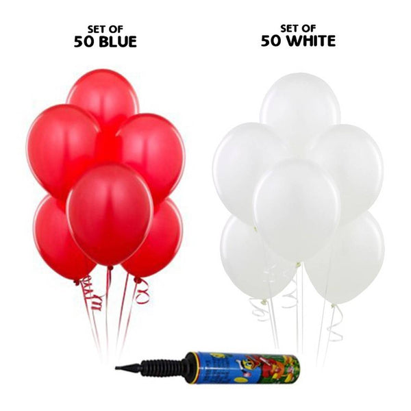NHR Happy Birthday 50 Red + 50 White Decoration Balloons with Pump (100 Balloons) - Abelestore