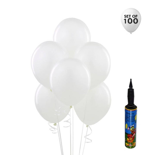 NHR Happy Birthday 100 White Color Decoration Balloons with Pump