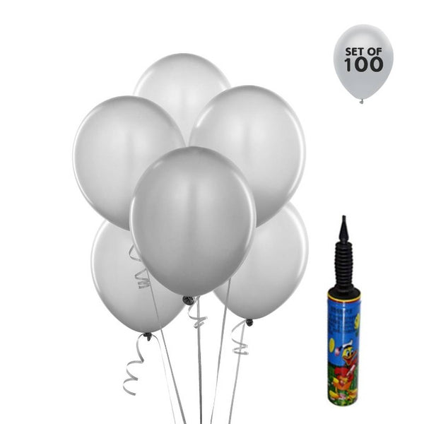 Abel White 100pcs + Pump Happy Birthday Silver Color Decoration HD Metallic Balloons - Abelestore