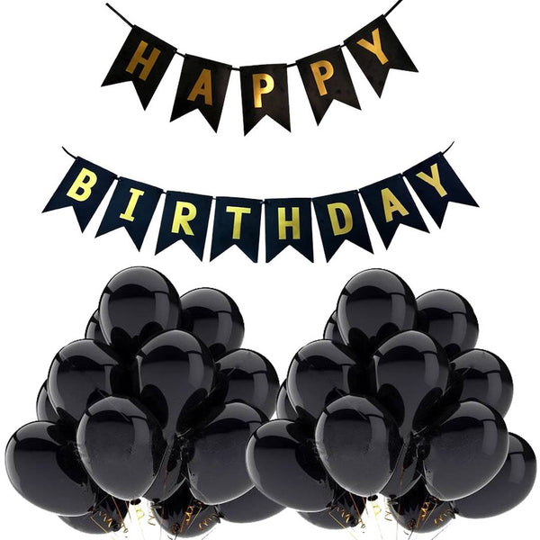 (51Pcs Combo) Abel Black Theme Happy Birthday Banner & Balloons for Birthday Party Decoration - Abelestore