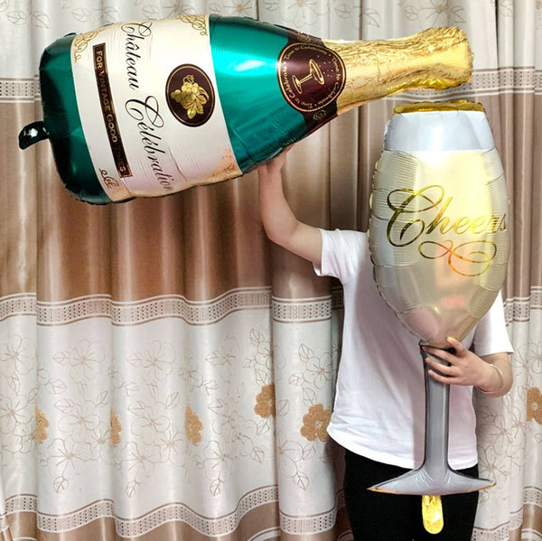 1 Foil Bottle, 1 Glass Balloon for Birthday, Christmas, New Year Party Decoration