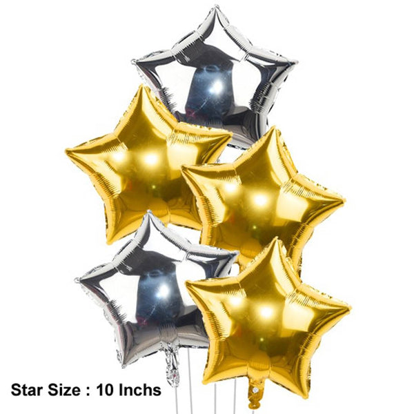Abel 5 Foil Star (10 Inchs) for Birthday, Christmas, New Year Party Decoration