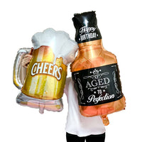 Abel 1 Foil Beer Mug , 1 Foil Bottle for Birthday, Christmas, New Year Party Decoration