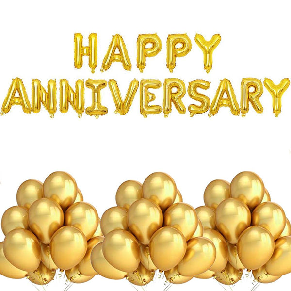 Abel Happy Anniversary Foil Balloon Banner Golden Party Decoration 100 Metallic Balloons (Golden)
