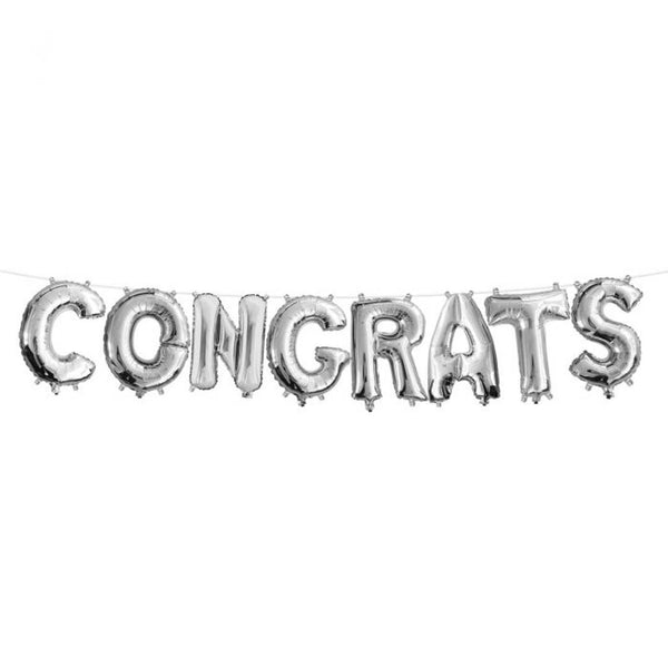 BUy from Abelestore.com 8 Letters Foil Decoration Congrats Foil Balloon Banner(Silver)