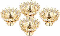 Heaven Decor Small Brass and crystal Akhand diya  Bowl style Brass Table Diya Set 4 (Height: 1.9 inch)