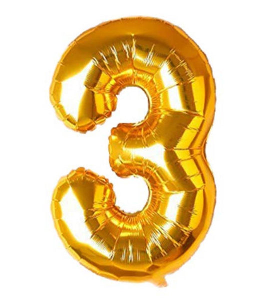 Special Foil Balloon (Number 3) (Golden) - Abelestore