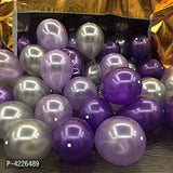 Theme Purple and Silver Balloons Metallic Latex Balloon (Set of 51 Pic)