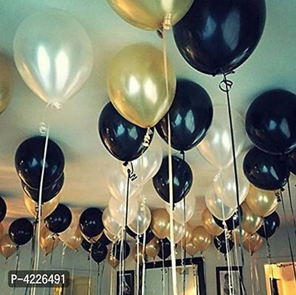 Theme Gold, Black and White  Balloons Metallic Latex Balloon (Set of 51 Pic)