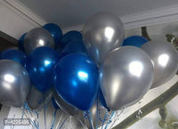 Theme Blue and Silver  Metallic Latex Balloon (Set of 51 Pic)