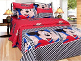 Cartoon Print Cotton Double Bed Sheet With 2 Pillow Covers (90X100)