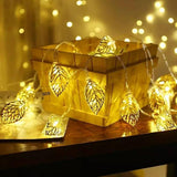 Brand World Golden Metal Leaf String Led Decorative Lights for Home Hanging Bedroom Birthday Party Decoration Items