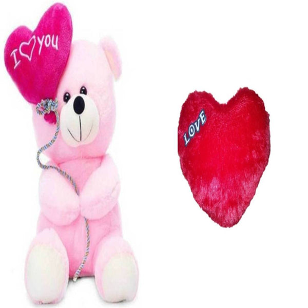 Gift Basket Stuffed Soft Toy Combo Of Balloon Teddy With Red Love Heart