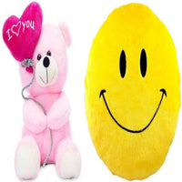 Gift Basket Stuffed Soft Toy Combo Of Balloon Teddy With Smiley