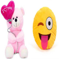 Gift Basket Stuffed Soft Toy Combo Of Balloon Teddy With Naughty Smiley - Abelestore
