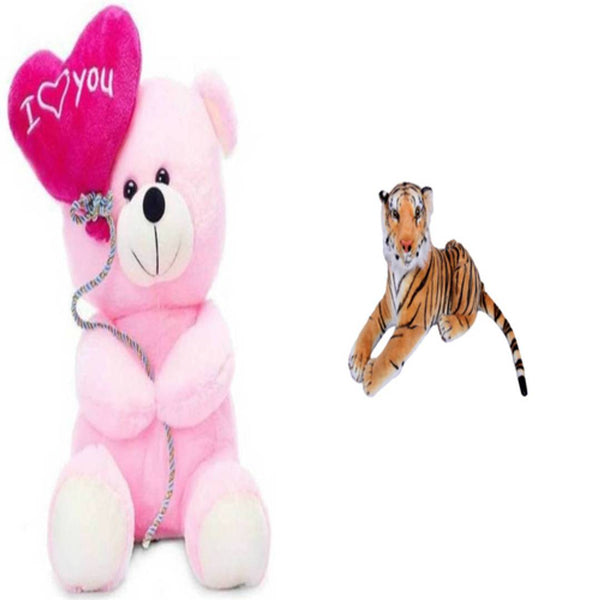 Gift Basket Stuffed Soft Toy Combo Of Balloon Teddy With Tiger - Abelestore
