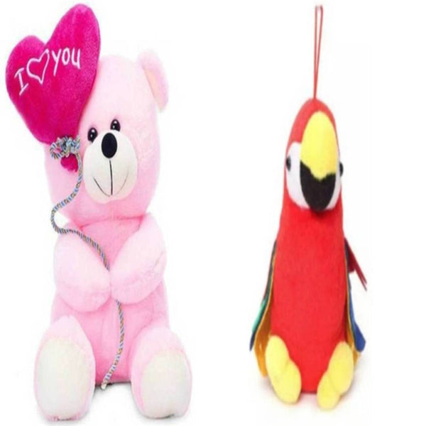 Gift Basket Stuffed Soft Toy Combo Of Balloon Teddy With Parrot