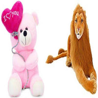 Gift Basket Stuffed Soft Toy Combo Of Balloon Teddy With Lion - Abelestore