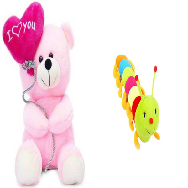 Gift Basket Stuffed Soft Toy Combo Of Balloon Teddy With Caterpillar