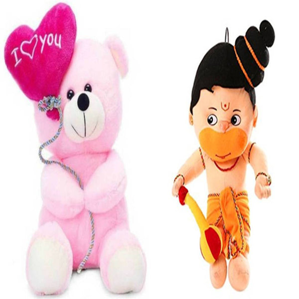Gift Basket Stuffed Soft Toy Combo Of Balloon Teddy With Hanuman