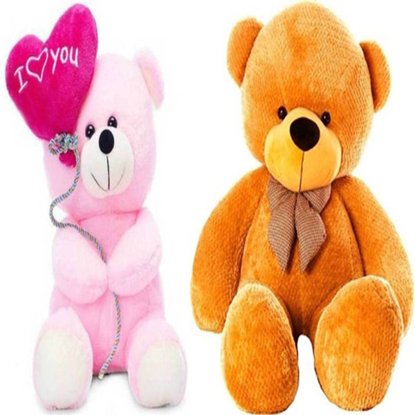 Gift Basket Stuffed Soft Toy Combo Of Balloon Teddy With Brown 3 Feet Teddy