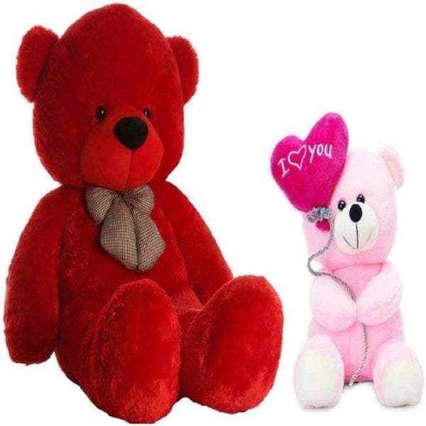 Gift Basket Stuffed Soft Toy Combo Of Balloon Teddy With Red 3 Feet Teddy