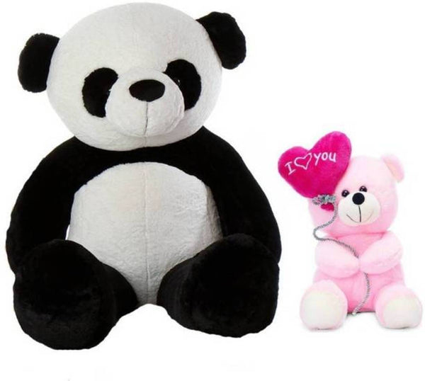 Gift Basket Stuffed Soft Toy Combo Of Balloon Teddy With Sitting Panda Teddy