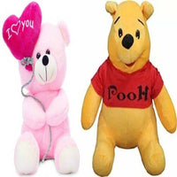 Gift Basket Stuffed Soft Toy Combo Of Balloon Teddy With Winnie The Pooh