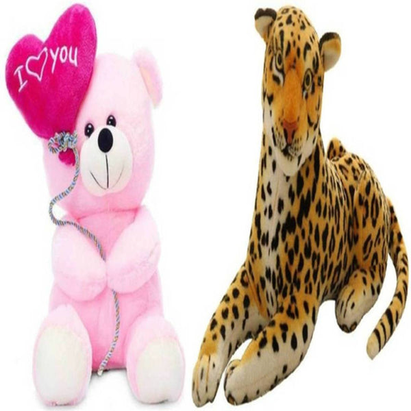 Gift Basket Stuffed Soft Toy Combo Of Balloon Teddy With Cheetah